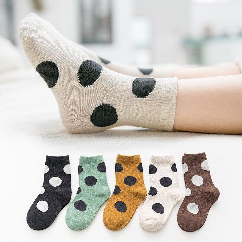 5-Pair Pack Boy Socks Cotton Socks Girl's Socks Autumn and Winter Big Polka Dot Color Matching Socks Children's Cotton Socks 2
