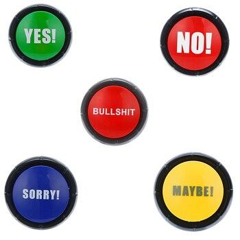 Responder zumbador juguetes vocales Botón de basura sí No lo sentimos tal vez efecto de sonido broma evento de fiesta en casa herramienta de educación juguetes para niños