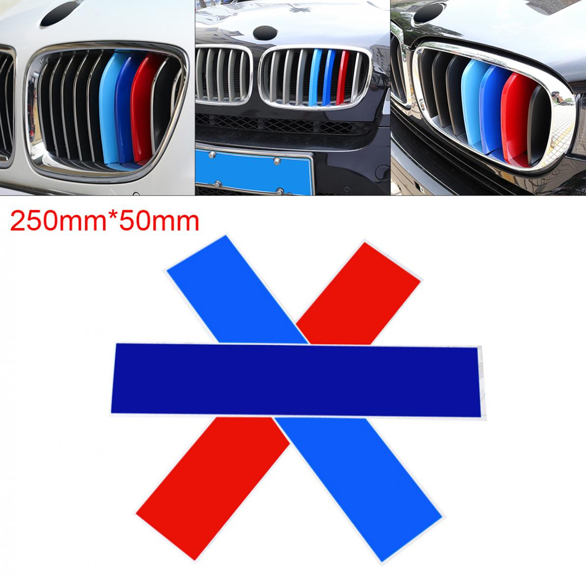 1set  PVC Front Grill Stripes Decals M Power Sport Stickers for BMW M3 M5 M6 E46 E39 E60 E90