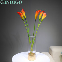5pcs Sunset Calla Lily 24 Half Open Pastic Flower Wedding Orange Bouquet Real Touch Home Decor Free Shipping
