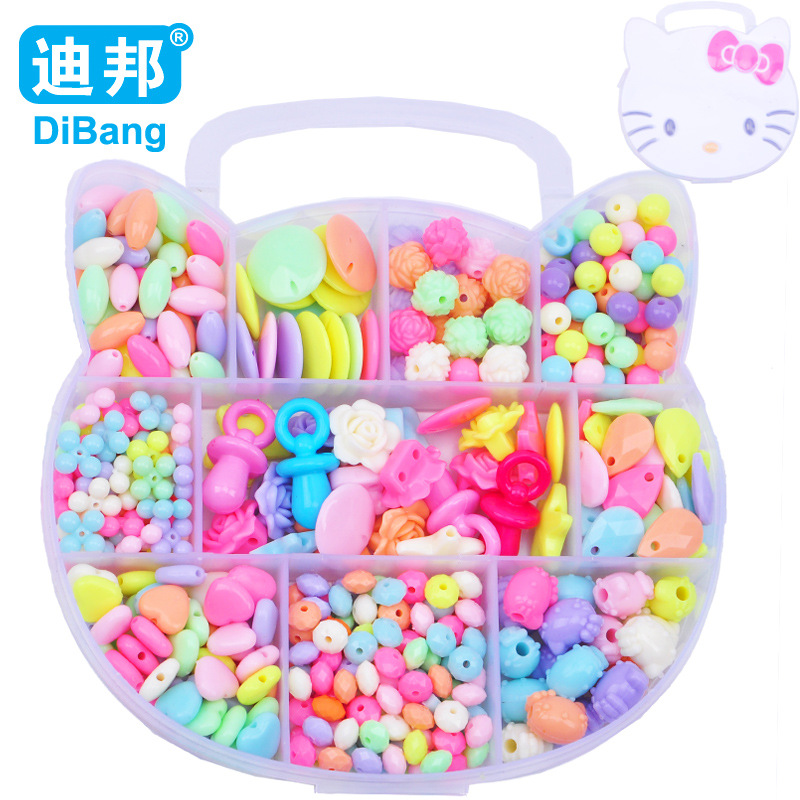 Dibang-Children Handmade DIY Beaded Bracelet Accessories 10 Squares Light Color Loose Beads Weak Sight Training Educational Earl