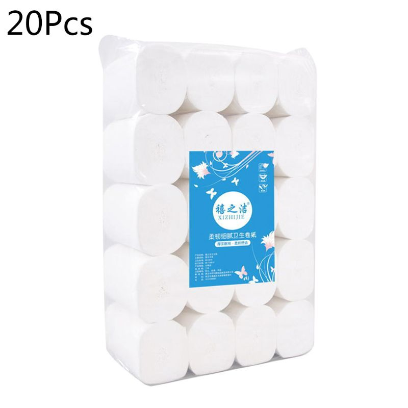 20 Rolls Toilet Paper No Fluorescent Mix Wood Pulp 4-Ply Skin Care Tissue X7YB