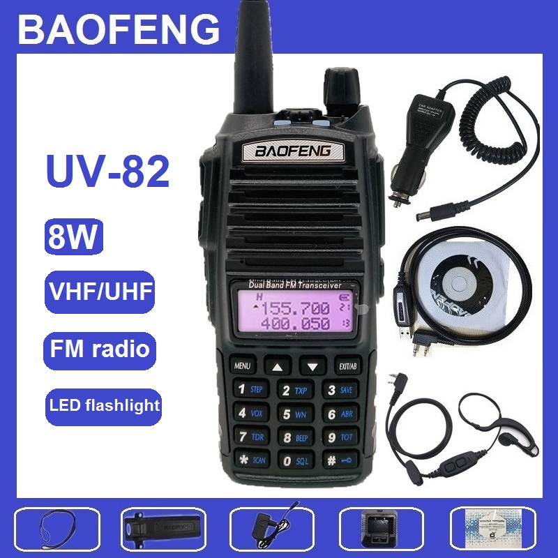8W Walkie Talkie BAOFENG UV-82 Amateur Radio Transceiver VHF UHF UV82 8Watts Ham CB Amateur Hunting Radio Scanner Transmitter
