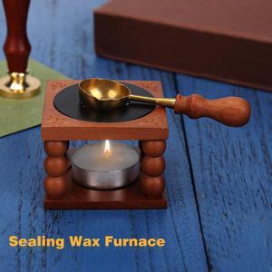 Wax Kits Retro Sealing Wax Furnace Stove Pot Wood Handle Sealing Wax Spoon for Wax Sealing Decorative Wax Stamp Craft Gift