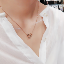 Fashion New Trend Stainless Steel Double Ring Love Necklace Simple Cold Wind French Clavicle Chain Ladies Banquet Accessories