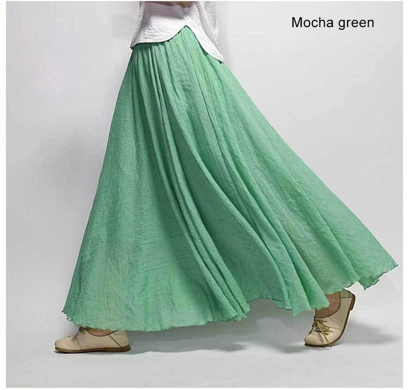 Women's Elegant High Waist Linen Maxi Skirt 2021 Summer Ladies Casual Elastic Waist 2 Layers Skirts saia feminina 20 Colors SK53 2