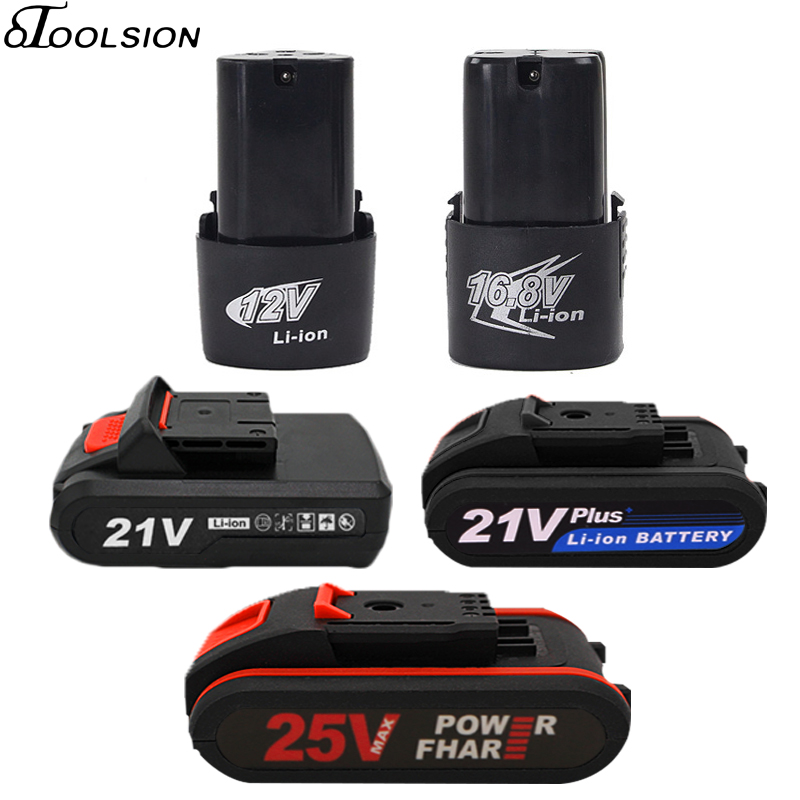 Original Electric Drill Li-ion Battery 25v 21v 16.8v 12v Rechargeable Cordless Screwdriver Drill Lithium Battery For Power Tool