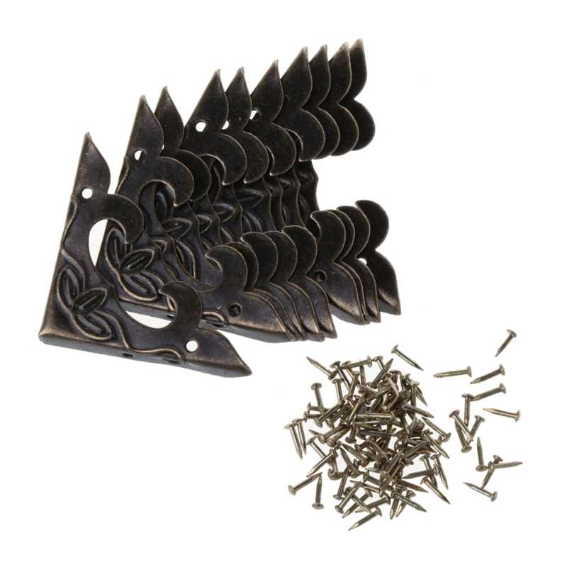 10 個アンティーク真鍮装飾プロテクター工芸品の宝石箱木製ケース足脚 Y1QB
