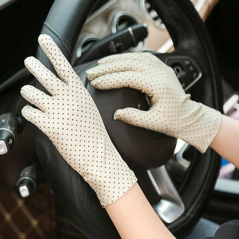 Женские модные летние перчатки, противоскользящие короткие тонкие перчатки для вождения, женские перчатки в горошек Женские перчатки      АлиЭкспресс