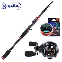 Sougayilang 1.8M 2.1M 2.4M Casting Lure Fishing Rods with 6.3:1 Baitcasting Reel Combo for Travel Freshwater Saltwater Fishing