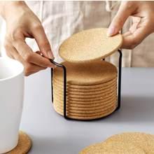 Natural redondo de madeira deslizamento fatia copo esteira 6/10/20pc coaster chá caneca de café bebidas titular para diy utensílios de mesa decoração almofada durável