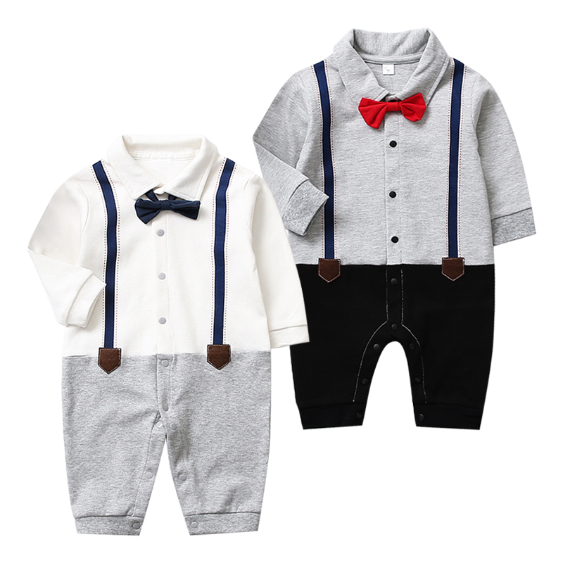 Spring Autumn New Born Baby Clothing Gentleman Rompers 0-24M Baby Boys Cotton Jumpsuit Baby Body Clothes Newborn Unisex