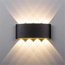 Алюминиевый светодиодный настенный светильник 6 Вт 8 Вт наружный водонепроницаемый садовый дворик крыльцо свет бра Балконный коридор черный настенный светильник AC85-265V
