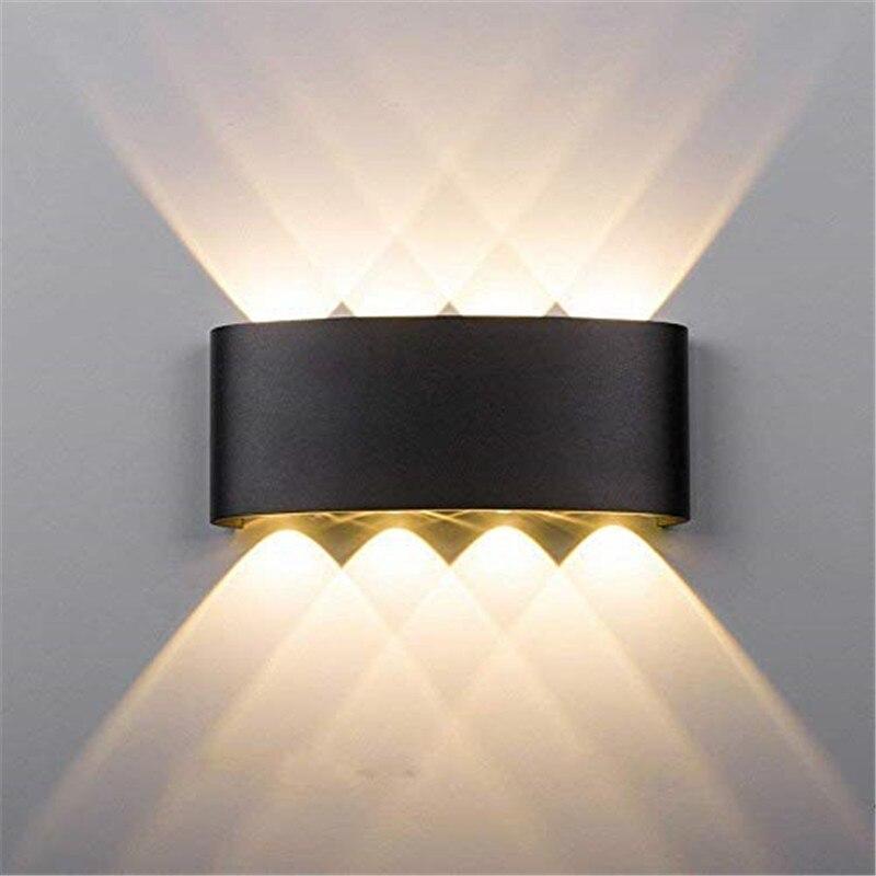 Alüminyum led duvar Lambası 6W 8W Açık Su Geçirmez Bahçe Avlu Sundurma Işık Aplik Balkon Koridor Siyah Duvar Lambası AC85-265V