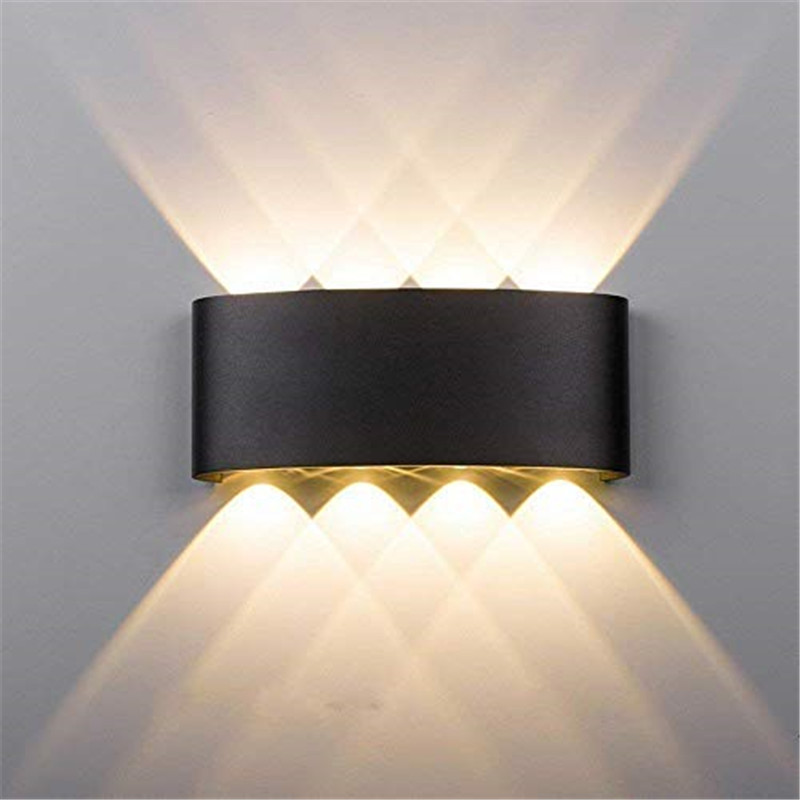 Lámpara de pared LED de aluminio 6W 8W exterior impermeable jardín patio porche luz Sconce balcón pasillo negro lámpara de pared AC85-265V