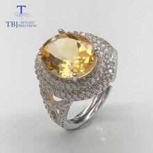 خواتم سيترين خاتم مرصع بالأحجار الكريمة الطبيعية 925 من الفضة الإسترليني مجوهرات فاخرة بسيطة للسيدات ملابس يومية طراز جديد 2019