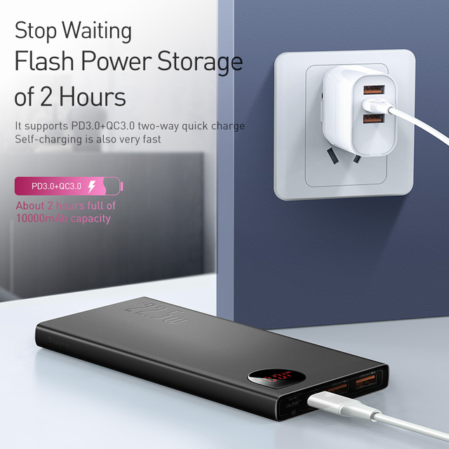Baseus Power Bank 10000mAh with 20W PD Fast Charging Powerbank Portable Battery Charger PoverBank For iPhone 12Pro Xiaomi Huawei 4