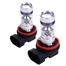 1 Pair H11 20LED 100W High Power Projector Fog Driving Light Bulbs — White