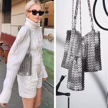 luxury Women Bags Designer Metal Sequins Chain Woven Bag Hollow Evening Bags Clutch Female Travel Holiday Shoulder Bag Handbag