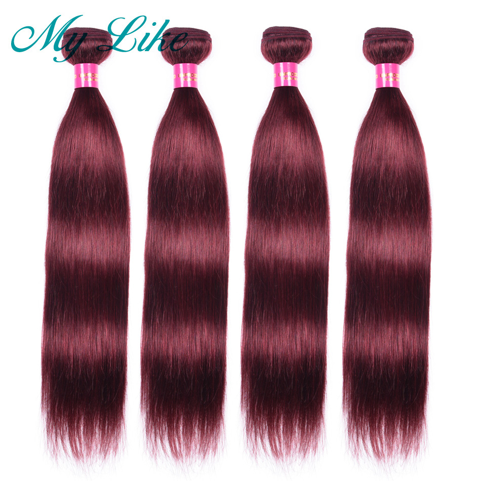 My Like Pre-colored Peruvian Hair 1/4 Bundles 99j Burgundy Non-remy Human Hair Extensions Wine Red Straight Hair Weave Bundles