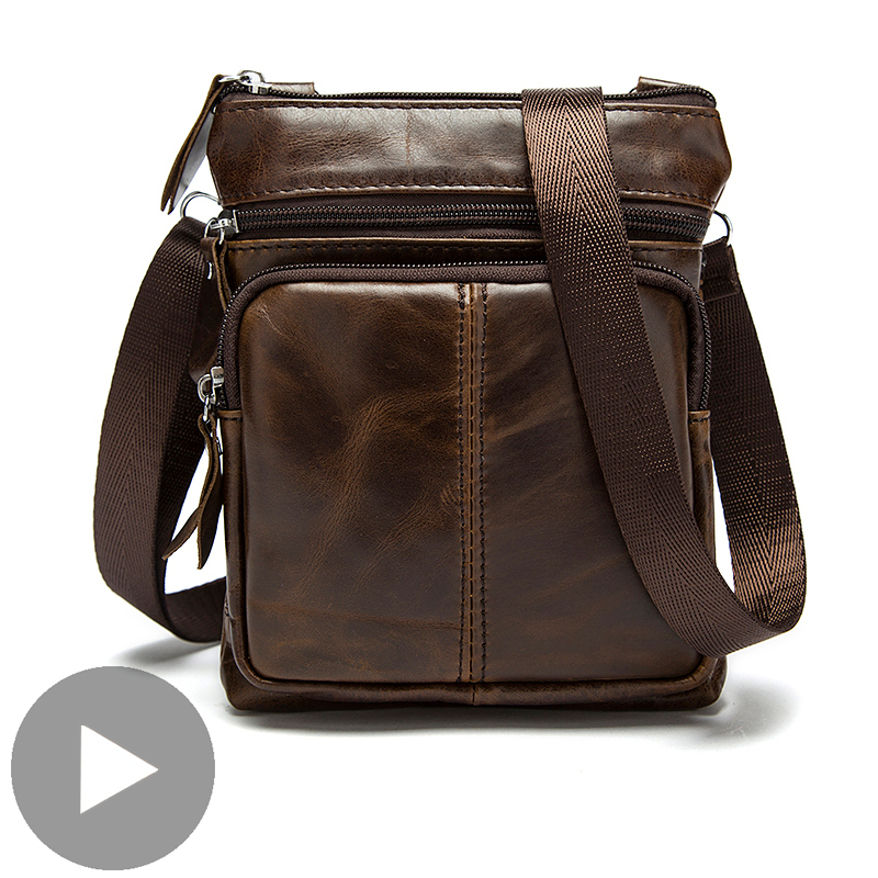 Shoulder Messenger Women Men Bag Crossbody Genuine Leather Office Work Business Briefcase For Handbag Male Portafolio Retro 2020