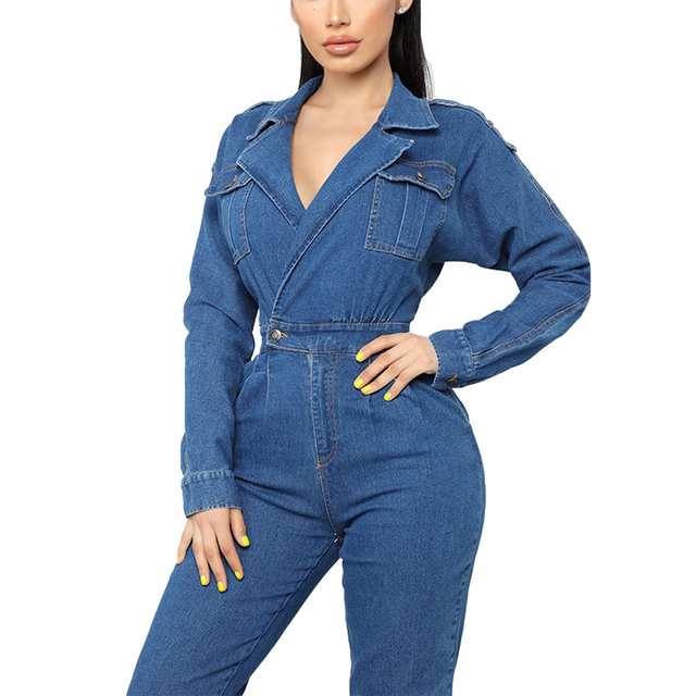 Womens Sexy V-Neck Bodycon Jumpsuit Overalls Club Bodysuit Slim Fit Playsuit Denim Jeans Suit Casual Clothing Trousers Pant New 2
