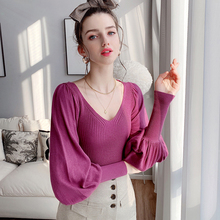 Dabuwawa Sweet Solid V Neck Slim Fitted Stretchy Pullovers Sweater Women Lantern Sleeve Office Ladies Knit Sweaters DT1AJS008