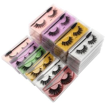 Wholesale Eyelashes 5/30/40/150pcs Fluffy 3d Mink Lashes Natural Makeup False Lashes Flase Eyelashes Set with Cosmetic Brushes 1