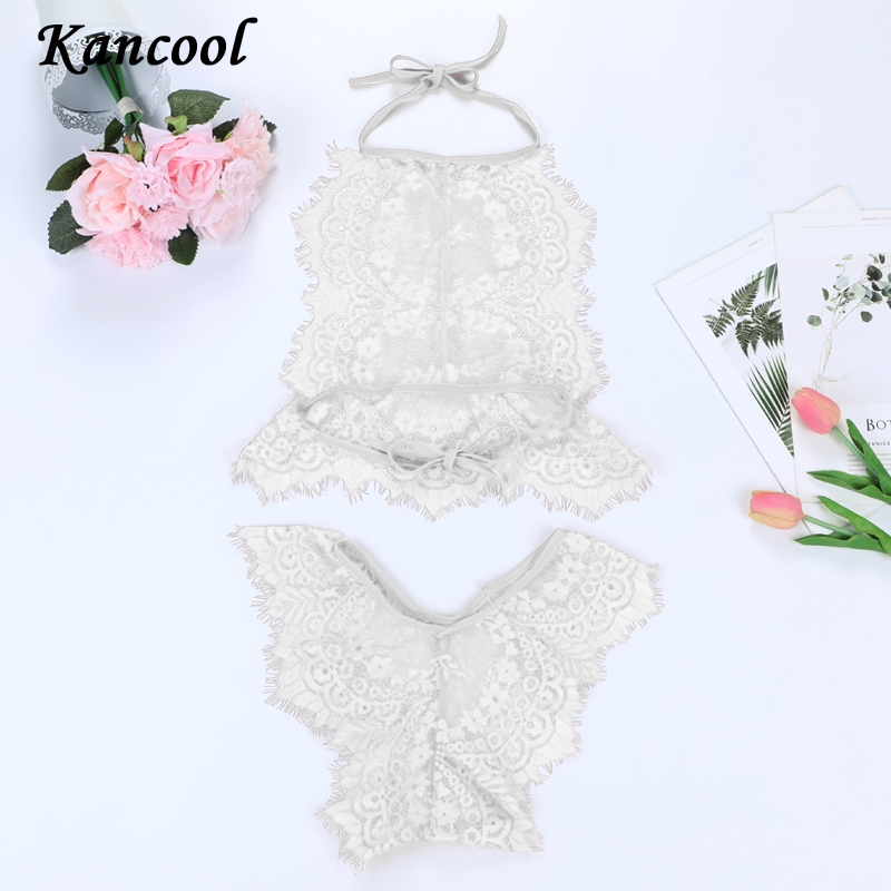 KANCOOL Hot Three Point Teddies Women's Pajamas Eyelash Lace Hollow Lingerie Sets Large Size Sleepwear Sexy Babydolls Underwear