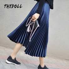 Pleated skirt women fashion design elastic waistband high quality long skirt women недорого