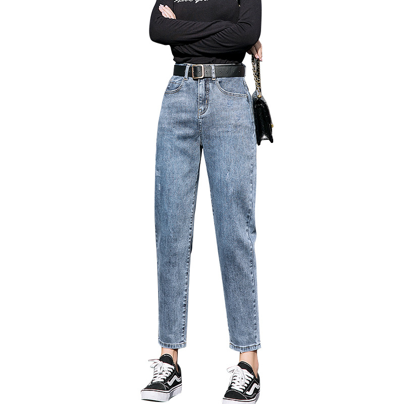 Jeans Women's Spring New Korean Loose Loose Was Thin Ladies High Waist Net Red Harem Pants Cec Dad Carrot Pants