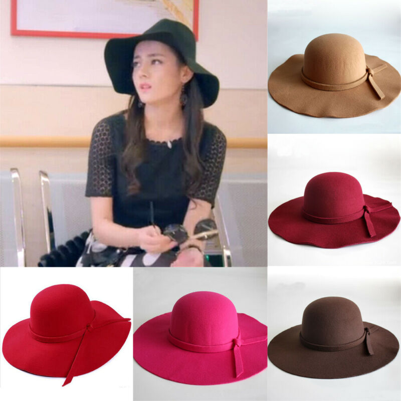 Wide Large Brim Wool Felt Cap Summer Beach Women GIrl Lady Travel Floppy Beach Sun Hat Foldable Black Red Camel