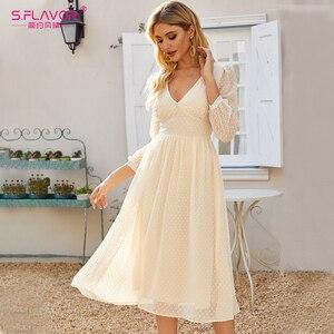 Image 4 - S. טעם אלגנטי V צוואר שיפון Midi שמלת עבור נשים בוהמי סגנון Slim חורף מסיבת Vestidos דה סתיו אונליין שמלות 2020