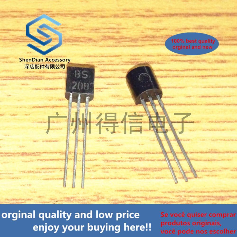 10pcs 100% New And Orginal BS208 208 TO-92P-CHANNEL ENHANCEMENT MODE DMOS TRANSISTOR  In Stock