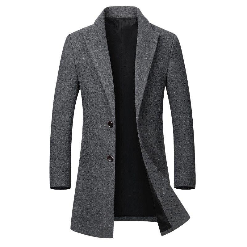 Hiver manteau en laine garçons décontracté mélange manteau à manches longues laine veste hommes gris hommes pardessus grande taille haute qualité coupe-vent 4xl