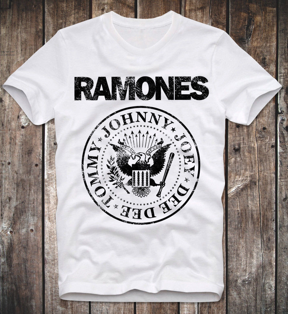 2019 T Shirt Men Ramones Logo Shirt Retro Vintage White Punk Rock Clash Men Short Sleeve O-neck Tops Tees Shirts Streetwear