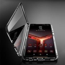 Ön ve arka kapak koruyucu kılıf için ASUS ROG telefon II 2 / ZS660KL çift taraflı temperli cam şeffaf Magneto telefon kabuk