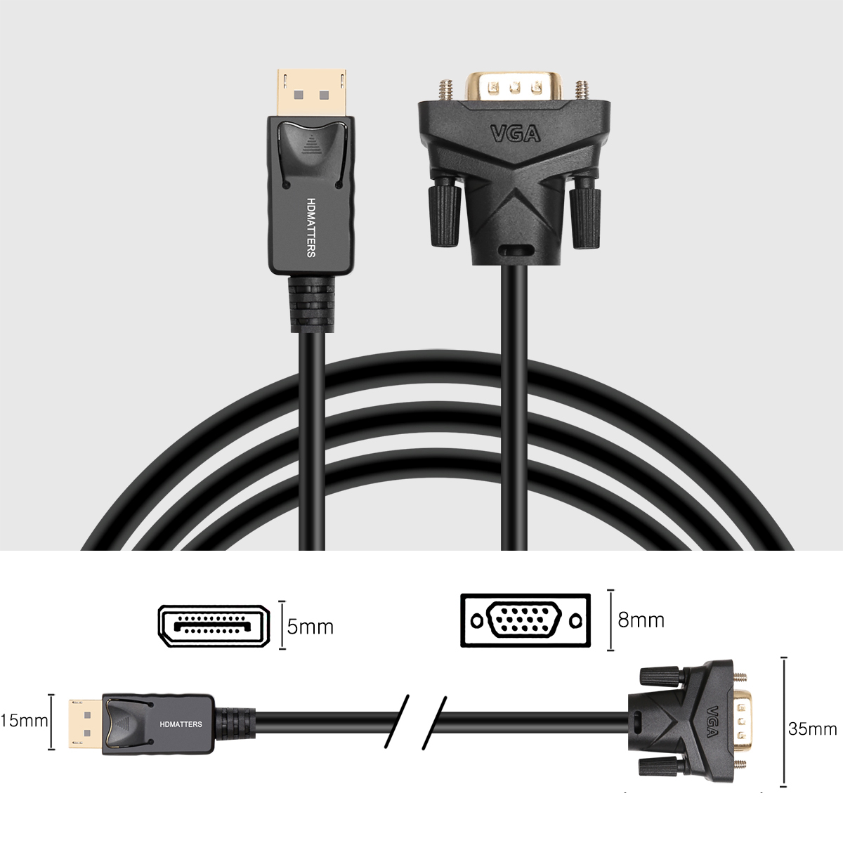 Displayport to VGA cable 1.8m DP to VGA adapter converter cable DP male to VGA male for HP Dell Asus lenovo PC laptop(China)