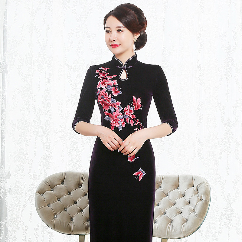 2019 Rushed High Quinceanera 2020 Autumn Outfit New Pleuche Cheongsam Long Improved Old Runway Fashion Festival Mother-in-law