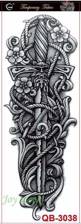 Waterproof Temporary Tattoo Sticker Full Arm Large Size Dagger Sword Tatto Stickers Flash Tatoo Fake Tattoos For Men Women