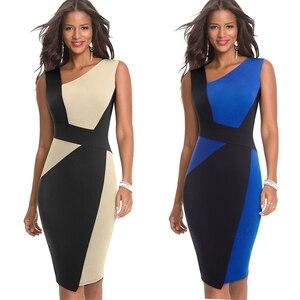 Image 2 - 素敵な永遠のヴィンテージコントラスト色パッチワーク着用して作業する vestidos ビジネスパーティーボディコンオフィスエレガントな女性ドレス B517