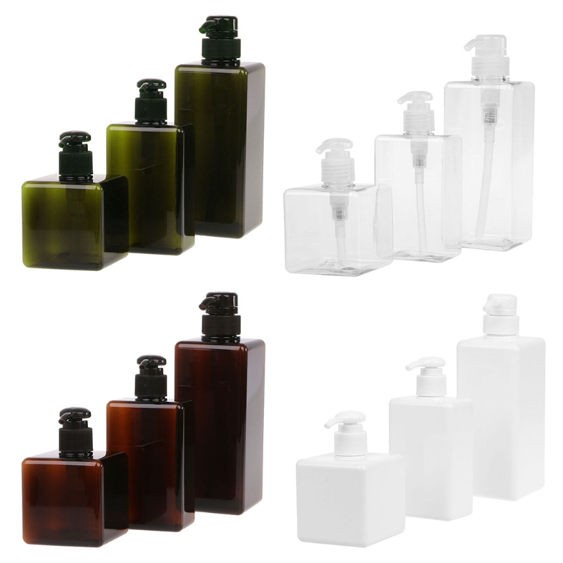 250ml/280ml/650ml Lotion Container Large Pump Plastic Shampoo Bottle Refillable Travel Bottle  Clear/white/brown/green