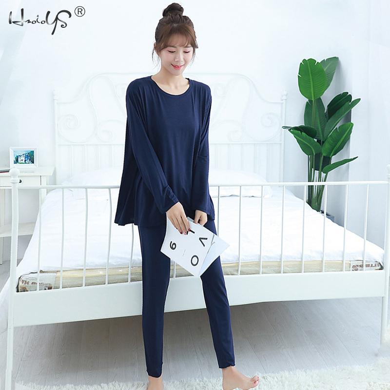 Women's Sleepwear Long Sleeves Top With Pants Pajama Set Modal Cotton Pyjamas Suit Home Clothes Pijama Pajamas for Women