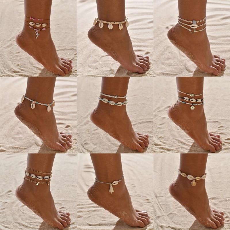 Modyle 2020 New Anklet for Women shell sequins Beads Geometric Bracelet Charm Bohemian Ankle Bracelet Boho Foot Summer Jewelry
