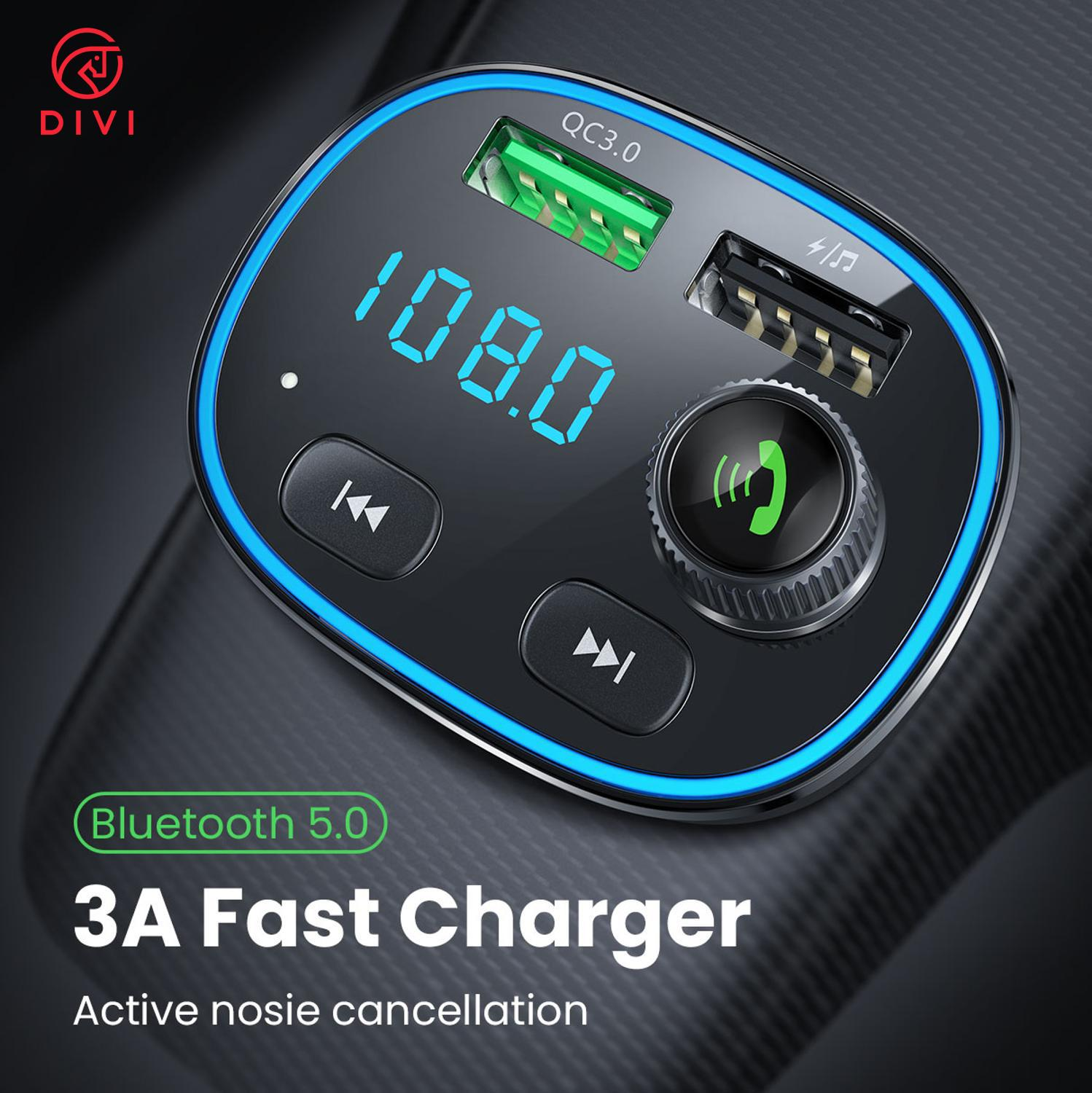 DIVI QC 3.0 fast charge car charger FM TransmitterCar Kit Audio Dual fast usb charger Car Audio MP3 Player for samsung huawei
