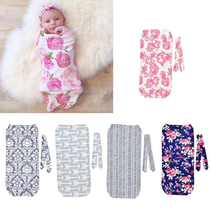 Bebes Newborn Floral Snuggle Swaddle Blanket Baby Boys Girls Sleeping Bag Wrap Headband Cloth 0-3M  Kids SET