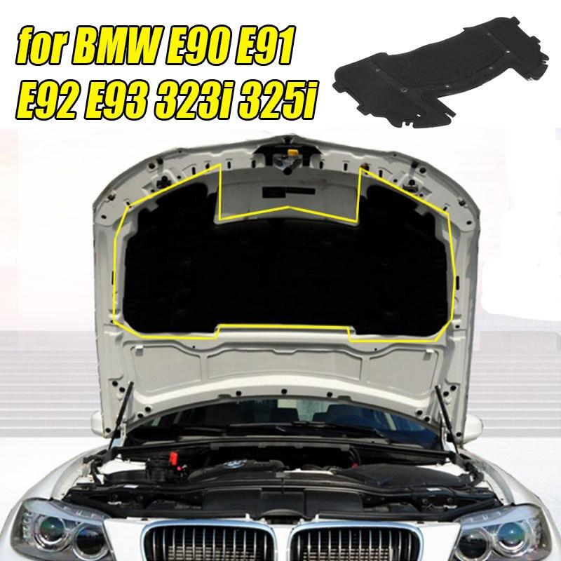 126.5 x 64.5cm Car Hood Engine Sound Insulation Pad Cotton For BMW E90 E91 E92 E93 323i 325i 51487059260 With Rivet Core Black