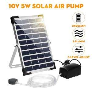 Кислородный компрессор с питанием от солнечной батареи 10 в 5 Вт, мини-аквариумный воздушный насос, кислородный компрессор для растений и рыб...