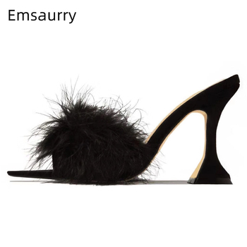 Sexy Fur Feather Gladiator Slippers Women Luxury Suede Point Toe Open Toe Unique Goblet Heel 2020 Summer High Heel Shoes Woman