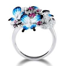 Красивые посеребренные кольца с синей бабочкой для женщин элегантные